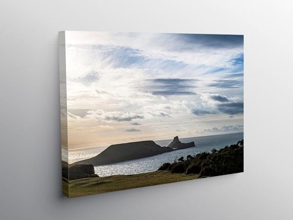 Worms Head on a winter Evening Gower Wales on Canvas