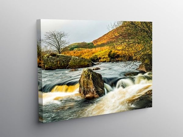 The Claerwen River Mid Wales on Canvas
