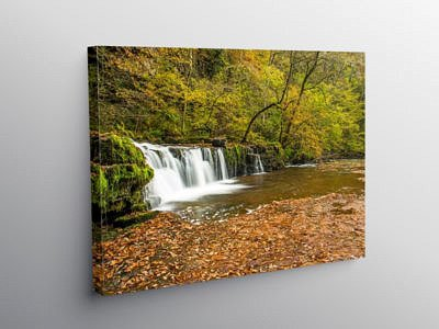 The Lower Ddwli Falls in the Vale of Neath on Canvas