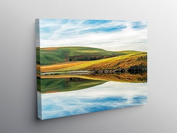 Reflections from Craig Goch Reservoir on Canvas