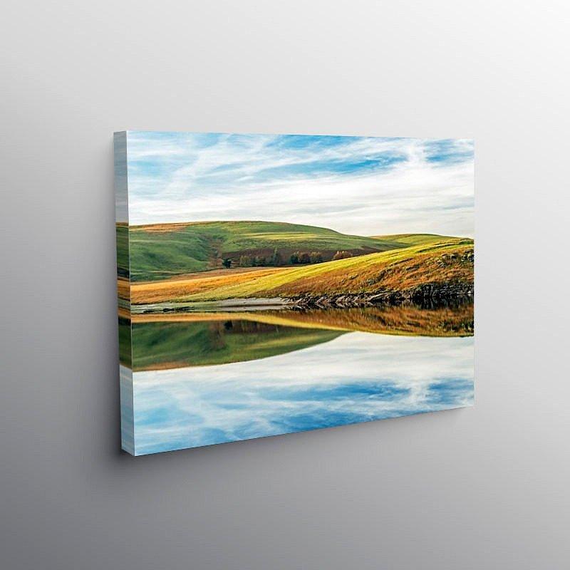 Reflections from Craig Goch Reservoir on Canvas