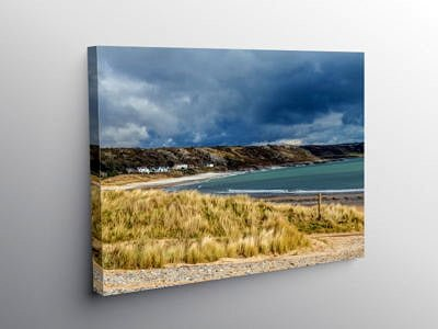 Port Eynon Beach Gower South Wales March Winter day on Canvas