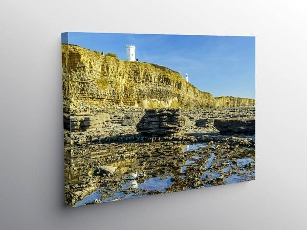 The Two Lighthouses Nash Point Glamorgan Heritage Coast on Canvas