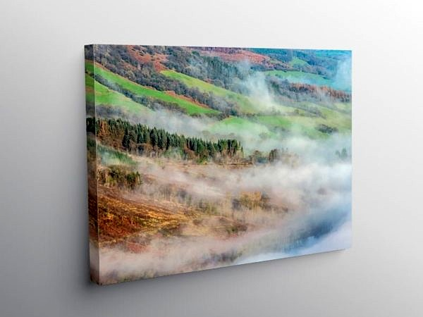 Low Cloud Over the Talybont Reservoir near Talybont on Usk Brecon on Canvas