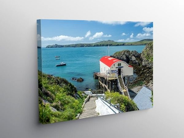 St Justinian's and Old Lifeboat Station Pembrokeshire Coast on Canvas