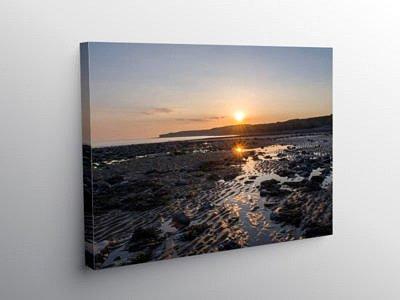 Sunset on Llantwit Major Beach on Canvas