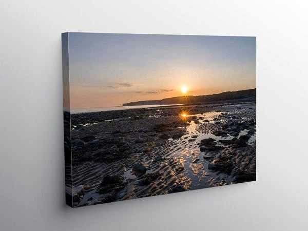 Sunset on Llantwit Major Beach on Canvas