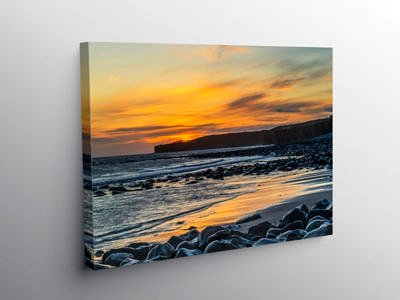 Sunset at Llantwit Major on Canvas