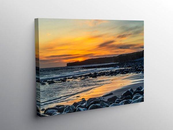 Sunset at Llantwit Major on Canvas