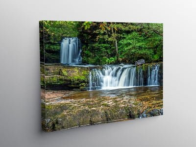 Lower Ddwli Waterfall Vale of Neath on Canvas