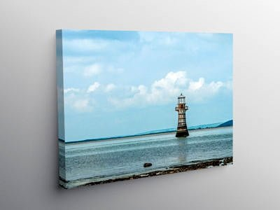Whitford Lighthouse off the Gower Coast, Canvas Print