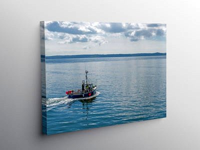 Fishing Boat Leaving Burry Port Harbour Carmarthenshire on Canvas