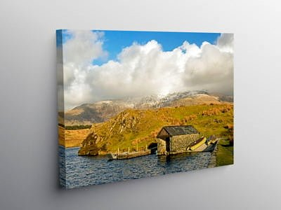 The Boathouse on Llyn y Dwyarchen Lake Snowdonia National Park on Canvas