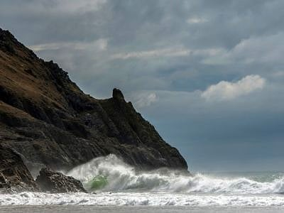 Pobbles Bay Gower South Wales on a windy day