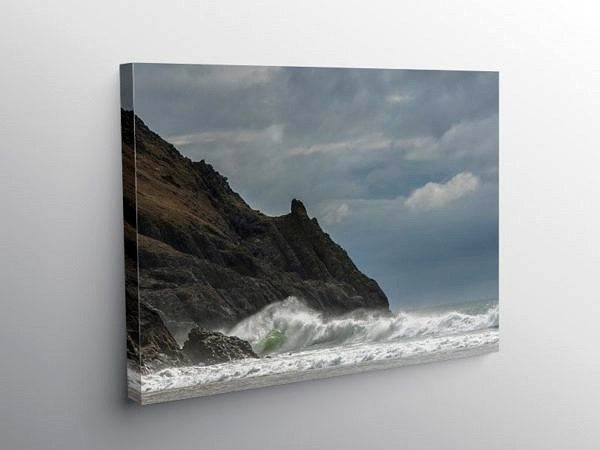 Pobbles Bay Gower South Wales on a windy day on Canvas