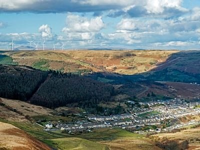 Looking Down on Cwmparc Rhondda South Wales