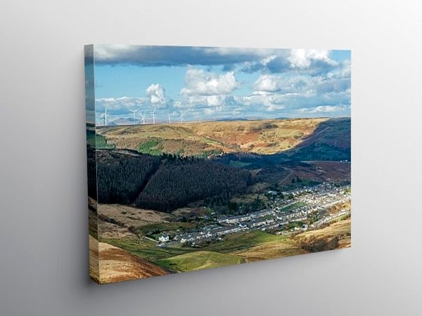 Looking Down on Cwmparc Rhondda South Wales on Canvas