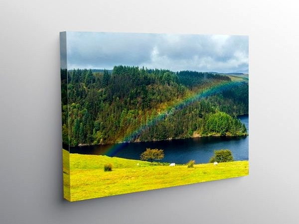Rainbow over Llyn Brianne Reservoir Mid Wales on Canvas