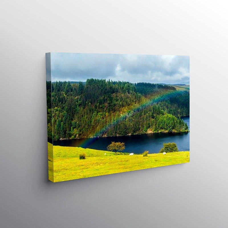 Rainbow over Llyn Brianne Reservoir Mid Wales on Canvas