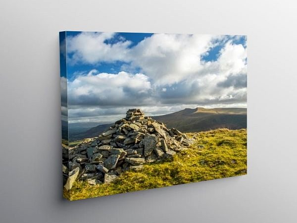 Pen y Fan and Corn Du from the top of Fan Frynych, Brecon Beacon on Canvas