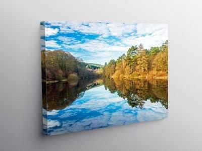 Reflections in Clydach Reservoir Llanwonno, Canvas Print
