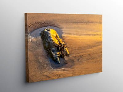 Setting Sun on Rock Llantwit Major Beach Glamorgan Coast on Canvas