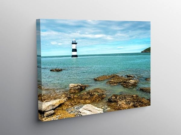 Penmon Lighthouse off Anglesey, Gwynedd on Canvas
