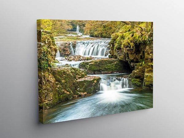 The Horseshoe Falls Vale of Neath in Autumn on Canvas
