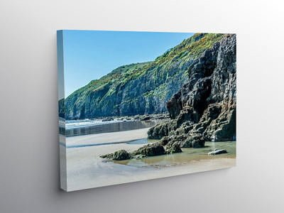 The cliffs west of Pendine Beach in Carmarthenshire on Canvas