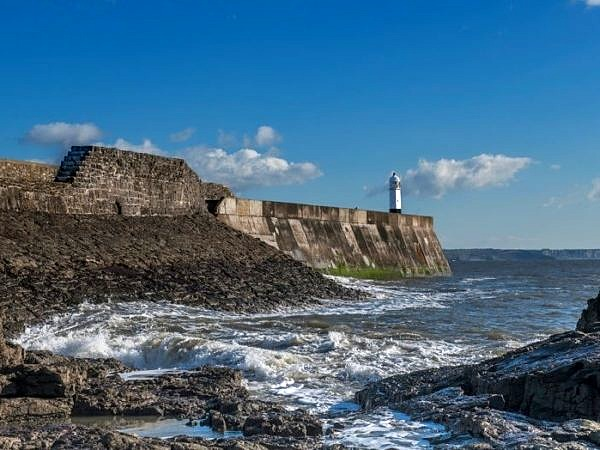 Porthcawl Harbour Wall and Lighthouse South Wales
