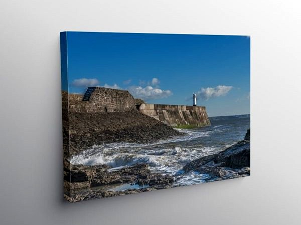 Porthcawl Harbour Wall and Lighthouse South Wales on Canvas
