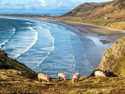 Rhossili Beach in March on the Gower Peninsula