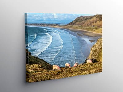 Rhossili Beach in March on the Gower Peninsula on Canvas