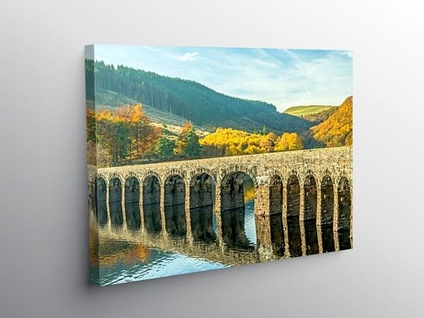 Garreg Ddu Reservoir and Dam Elan Valley Mid Wales on Canvas