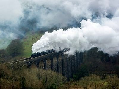 Two Steam Locomotives Pulling over the Cynnghordy Viaduct