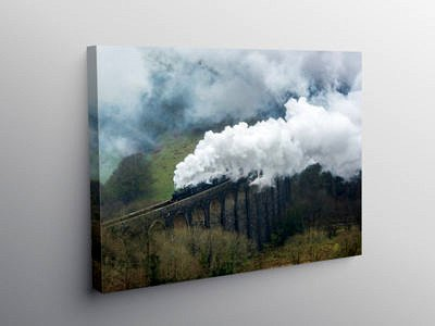 Two Steam Locomotives Pulling over the Cynghordy Viaduct, Canvas Print