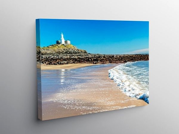 Mumbles Lighthouse Near Swansea south Wales, Canvas Print