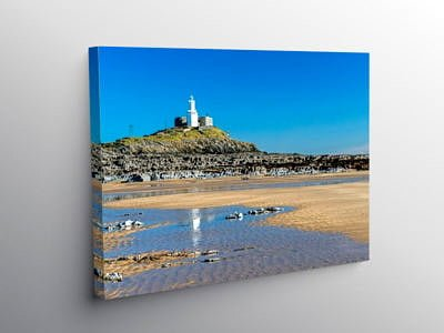 Mumbles Lighthouse and Bracelet Bay Swansea South Wales, Canvas Print