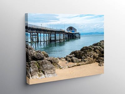 Mumbles Pier Swansea Bay south Wales, Canvas Print