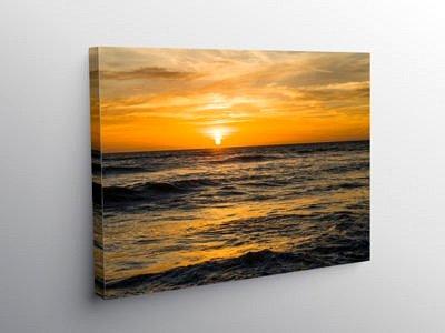 Sunset over Llantwit Major Beach Glamorgan Heritage Coast, Canvas Print