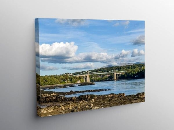 The Menai Bridge into Anglesey, Canvas Print