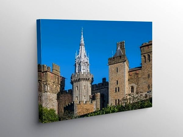 Cardiff Castle and the towers from the Western Side, Canvas Print