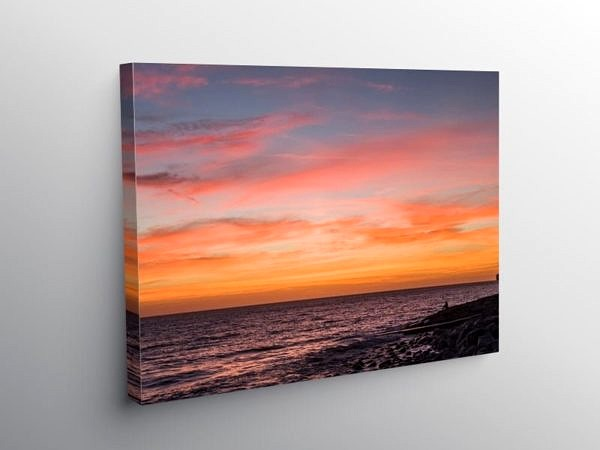Sunset at Llantwit Major Beach Glamorgan Heritage Coast, Canvas Print