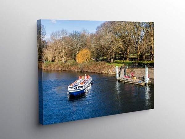 Passenger Boat Leaving Bute Park, Canvas Print