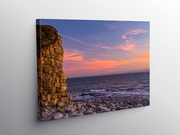 Pink Sky over Llantwit Major Beach, Canvas Print