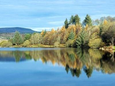 Rfelections in Llwyn Onn Reservoir in the Brecon Beacons Nationa