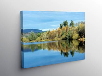 Reflections in Llwyn Onn Reservoir in the Brecon Beacons, Canvas Print