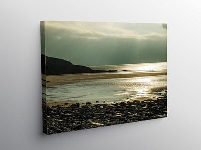 Dunraven Bay into the sun Glamorgan Heritage Coast, Canvas Print