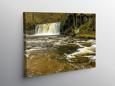 The Upper Ddwli Falls on the River Neath, Canvas Print