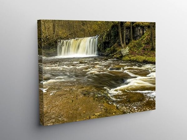 The Upper Ddwli Falls on the River Neath, Canvas Print